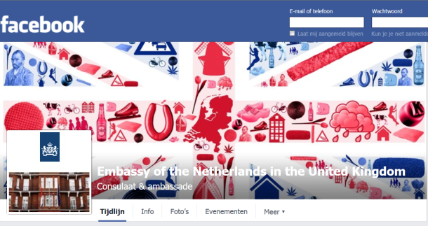 Facebookheader van Embassy of the Netherlands in the United Kingdom.