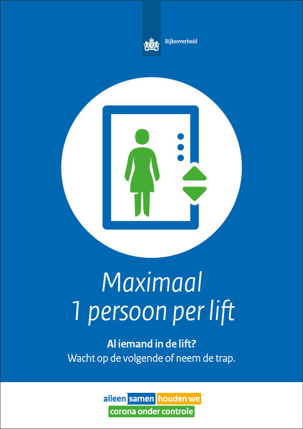 Poster max 1 persoon in lift